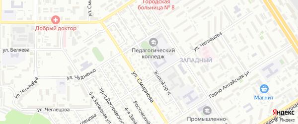 Жилой проезд на карте Барнаула с номерами домов