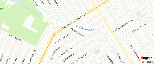 Рощинская улица на карте Барнаула с номерами домов