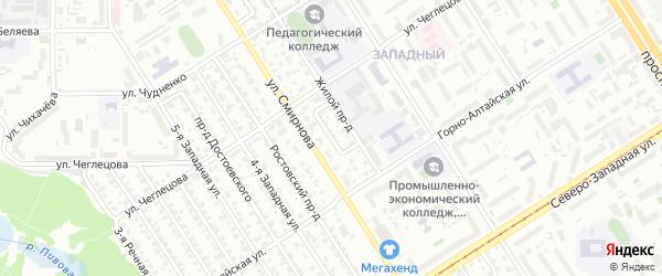 Проезд Тургенева на карте Барнаула с номерами домов