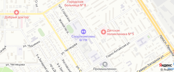 Улица Чеглецова на карте Барнаула с номерами домов