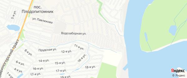 Карта садового некоммерческого товарищества Спутника города Барнаула в Алтайском крае с улицами и номерами домов