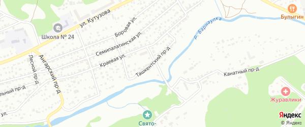 Ташкентский проезд на карте Барнаула с номерами домов