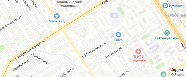 Полярный 2-й проезд на карте Барнаула с номерами домов