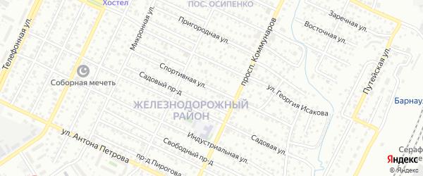 Спортивная улица на карте Барнаула с номерами домов