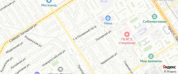 Полярный 3-й проезд на карте Барнаула с номерами домов
