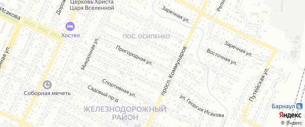 Пригородная улица на карте Барнаула с номерами домов