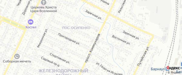 Парашютная улица на карте Барнаула с номерами домов