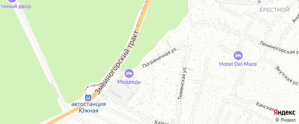 Пограничная улица на карте садового некоммерческого товарищества Сельского строителя с номерами домов