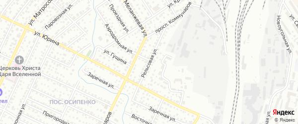 Рельсовая улица на карте Барнаула с номерами домов