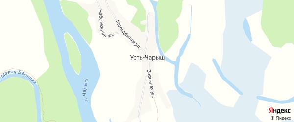 Карта села Усть-Чарыша в Алтайском крае с улицами и номерами домов