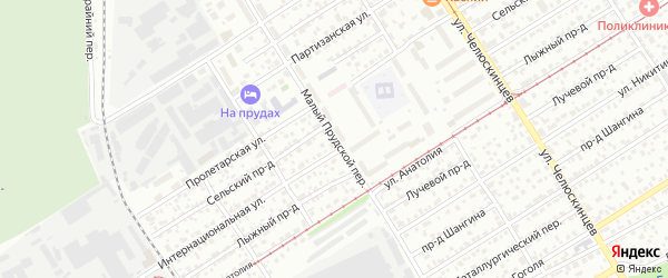 Малый Прудской переулок на карте Барнаула с номерами домов