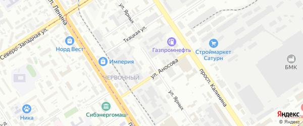 Улица Ярных на карте Барнаула с номерами домов