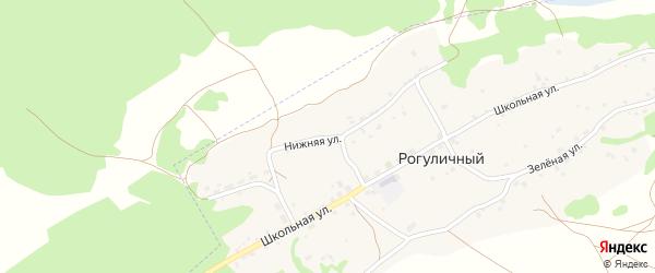 Нижняя улица на карте Рогуличного поселка с номерами домов