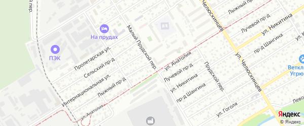 Лыжный проезд на карте Барнаула с номерами домов