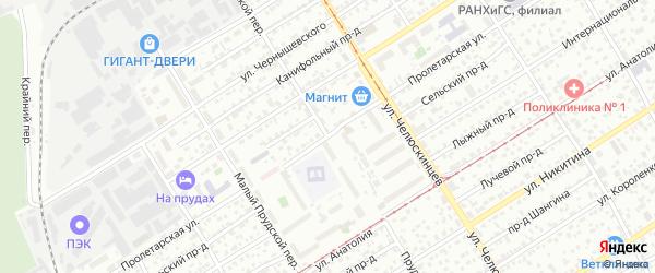 Прудской переулок на карте Барнаула с номерами домов