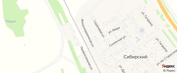 Железнодорожная улица на карте Сибирского поселка с номерами домов