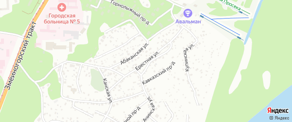 Ерестная улица на карте Барнаула с номерами домов