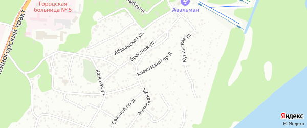 Кавказский проезд на карте Барнаула с номерами домов