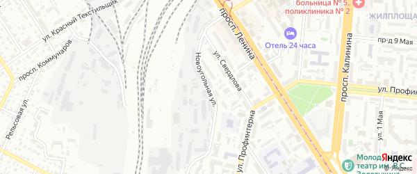 Новоугольная улица на карте Барнаула с номерами домов