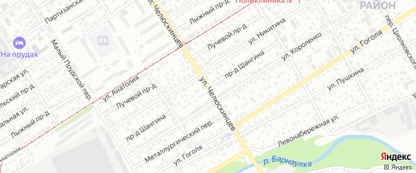 Проезд Шангина на карте Барнаула с номерами домов