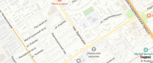 Переулок Ядринцева на карте Барнаула с номерами домов