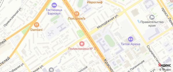 Молодежная улица на карте Барнаула с номерами домов