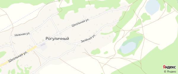 Зеленая улица на карте Рогуличного поселка с номерами домов