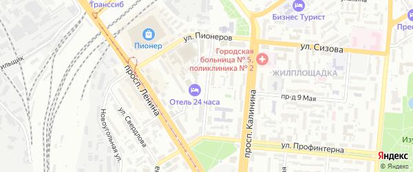 Рыночный проезд на карте Барнаула с номерами домов