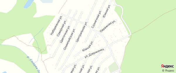 Зеленая улица на карте садового некоммерческого товарищества Строителя НКРЗ с номерами домов