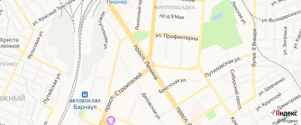 Карта садового некоммерческого товарищества Машиностроителя города Барнаула в Алтайском крае с улицами и номерами домов