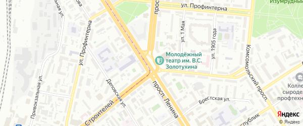 Вешний 1-й тупик на карте Барнаула с номерами домов