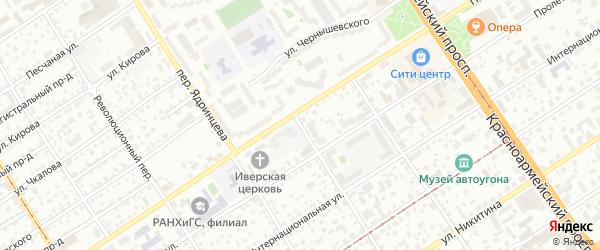 Переулок Циолковского на карте Барнаула с номерами домов