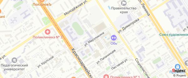Улица Мерзликина на карте Барнаула с номерами домов