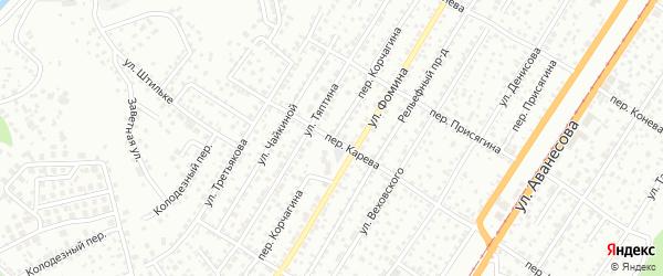Переулок Корчагина на карте Барнаула с номерами домов