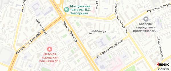 Брестская улица на карте Барнаула с номерами домов