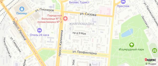 Инициативный 9-й проезд на карте Барнаула с номерами домов
