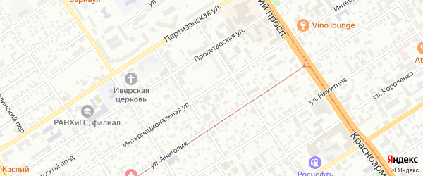 Интернациональная улица на карте Барнаула с номерами домов