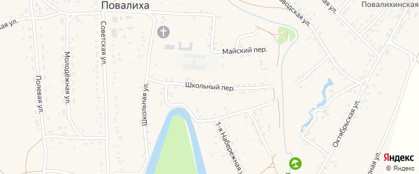 Школьный переулок на карте села Повалиха с номерами домов