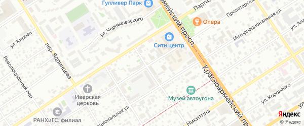Пролетарская улица на карте Барнаула с номерами домов