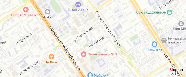 Переулок Геблера на карте Барнаула с номерами домов