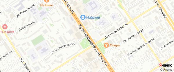 Красноармейский проспект на карте Барнаула с номерами домов