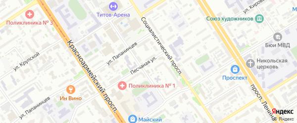 Песчаная улица на карте Барнаула с номерами домов