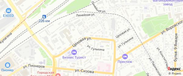 Цеховая улица на карте Барнаула с номерами домов