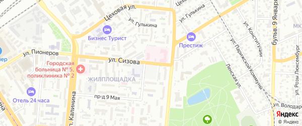 Улица Сизова на карте Барнаула с номерами домов