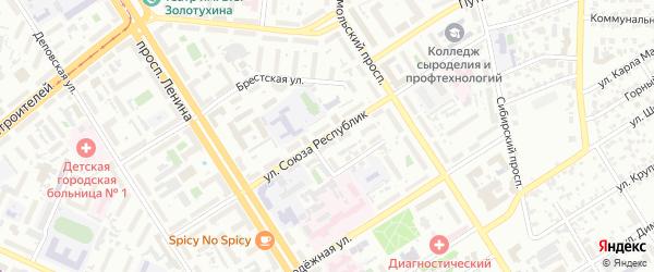 Улица Союза Республик на карте Барнаула с номерами домов