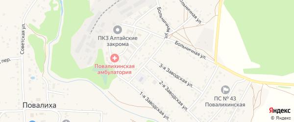 Комсомольская улица на карте села Повалиха с номерами домов