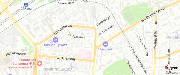 Улица Гулькина на карте Барнаула с номерами домов