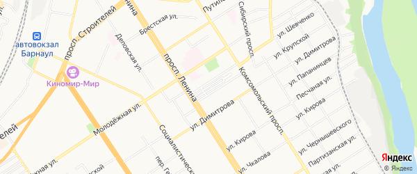 Карта садового некоммерческого товарищества Простора города Барнаула в Алтайском крае с улицами и номерами домов