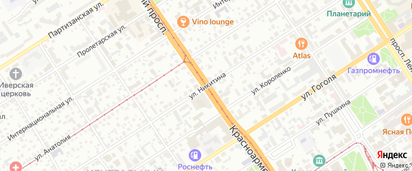 Улица Никитина на карте Барнаула с номерами домов