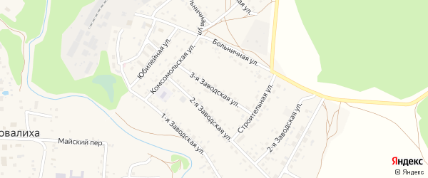 3-я Заводская улица на карте села Повалиха с номерами домов